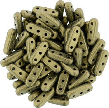 Metallic Suede Gold Czechmates Beam 3x10mm 3 Hole Glass Spacer 30 Bar Beads