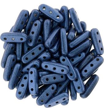 Metallic Suede Blue Czechmates Beam 3x10mm 3 Hole Glass Spacer 30 Bar Beads