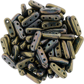 Oxidized Bronze Czechmates Beam 3x10mm 3 Hole Glass Spacer 30 Bar Beads
