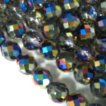 Prismatic Marea Multi 12mm Beads Faceted FirePolished 12pc Czech Glass Beads