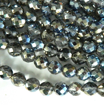 Prismatic Blue Hematite Multi 12mm Beads Faceted FirePolished 12pc Czech Glass Beads