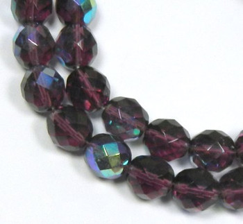 Amethyst AB 12mm Beads Faceted FirePolished 12pc Czech Glass Beads