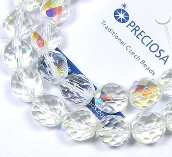 Crystal AB 12mm Beads Faceted FirePolished 12pc Czech Glass Beads