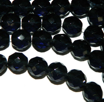 Montana Blue 12mm Beads Faceted FirePolished 12pc Czech Glass Beads