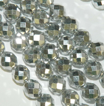 Silver 12mm Beads Faceted FirePolished 12pc Czech Glass Beads