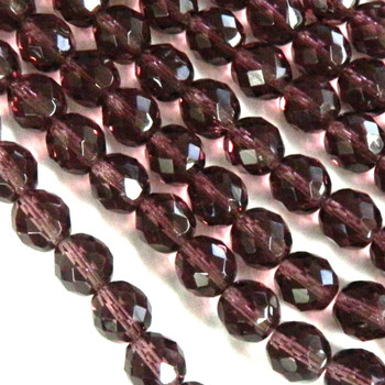 Med Amethyst 12mm Beads Faceted FirePolished 12pc Czech Glass Beads