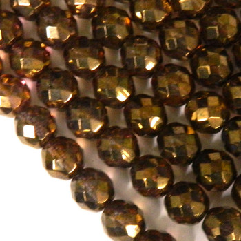 Luster Transparent Gold/Smokey Topaz 12mm Beads Faceted FirePolished 12pc Czech Glass Beads