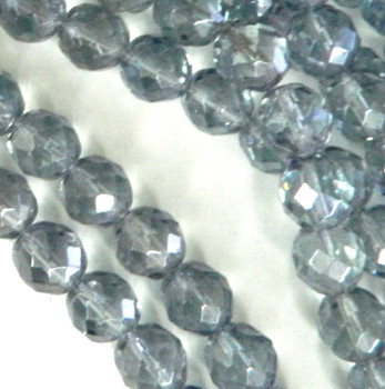 Luster Transparent Blue 12mm Beads Faceted FirePolished 12pc Czech Glass Beads
