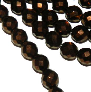 Dk Bronze 12mm Beads Faceted FirePolished 12pc Czech Glass Beads