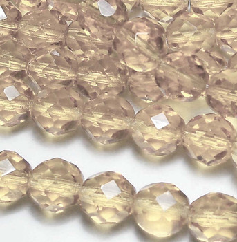 Luster Transparent Champagne 12mm Beads Faceted FirePolished 12pc Czech Glass Beads