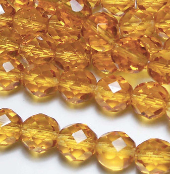 Med Topaz 12mm Beads Faceted FirePolished 12pc Czech Glass Beads