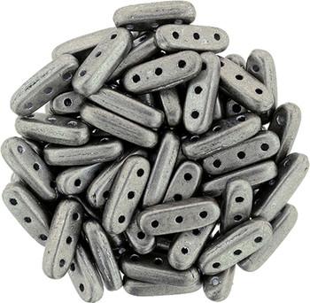 Saturated Metallic Sharkskin CzechMate Beam 3x10mm 3 Hole Glass Spacer 30 Bar Beads