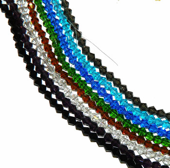 6mm Bi-Con Faceted Fluted Glass Mix 8 10 inch Strands.Jet Clear Amethyst Aqua Sapphire Green Smoke