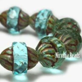 11x10mm Czech Glass Turbine Beads 15 Beads Blue Aqua With Picasso