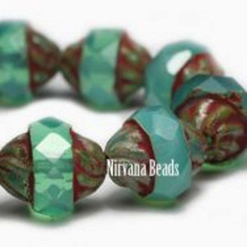 11x10mm Turbine Beads 15 Beads Green Opal-Milky Emerald With Picasso Finish