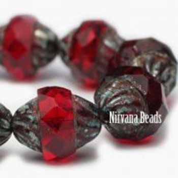 11x10mm Turbine Beads 15 Beads Ruby With Picasso Finish Marsala Palette