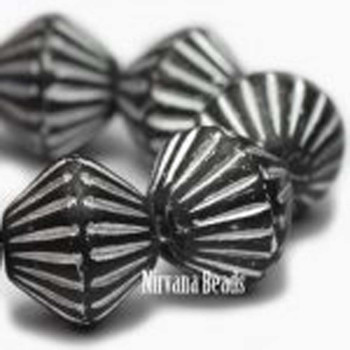 11x10mm African Style Bicone Beads 15 Beads Matte Black With Silver Color Finish