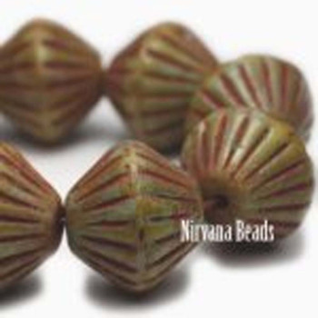 11x10mm African Style Bicone Beads 15 Beads Green-Blue With Red Picasso Finish