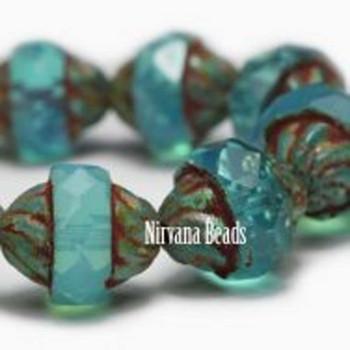 11x10mm Czech Glass Turbine Beads 15 Beads Aqua Opalite-Milky With Picasso Finish