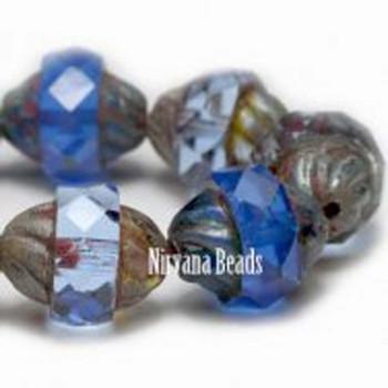 11x10mm Czech Glass Turbine Beads 15 Beads Opal Cornflower Blue And Transparent Blue Montana Picasso Finish Rose Quartz & Serenity Palette