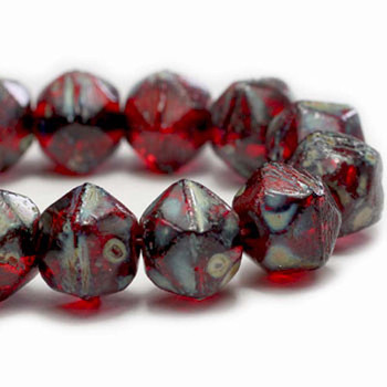 8mm Czech Glass English Cut Beads 20 Beads Transparent Red With Picasso Finish