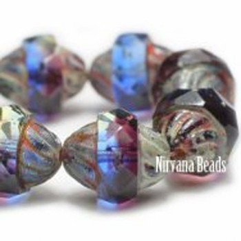 11x10mm Czech Glass Turbine Beads 15 Beads Mix Of Blue Purple And Green With Picasso Finish