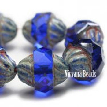 11x10mm Czech Glass Turbine Beads 15 Beads Sapphire Blue With Picasso Finish
