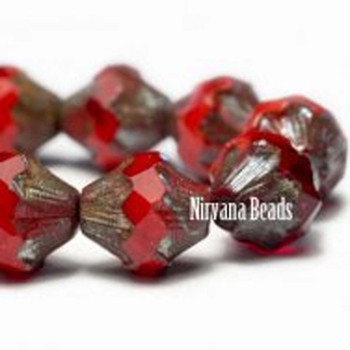 11x10mm Baroque Bicone Beads 15 Beads Transparent And Opaque Red Orange Glass With Picasso Finish On The Sides