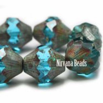 11x10mm Baroque Bicone Beads 15 Beads Blue Aqua With Picasso Finish