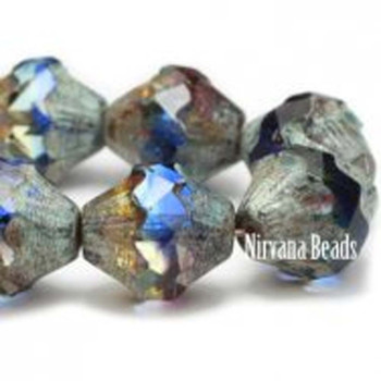 11x10mm Baroque Bicone Beads 15 Beads Transparent Sapphire Purple And Yellow With Picasso Finish