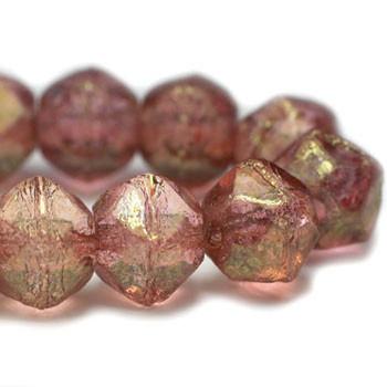 8mm Czech Glass English Cut Beads 20 Beads Light Pink With A Golden Finish