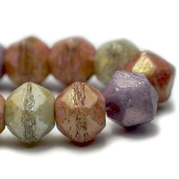 8mm Czech Glass English Cut Beads 20 Beads Mix Of Green Stone Purple And Pink