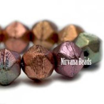 8mm Czech Glass Cut Beads 20 Beads Metallic Mix: Gold Bronze Teal Raspberry