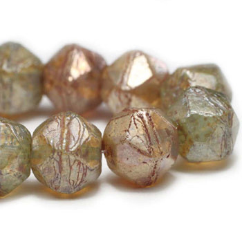 8mm Czech Glass English Cut Beads 20 Beads Mix Of Champagne Bronze And Olive Green