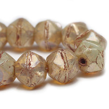 8mm Czech Glass English Cut Beads 20 Beads Champagne Finish