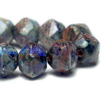 8mm Czech Glass English Cut Beads 20 Beads Blue Sapphire Glass With Picasso Finish