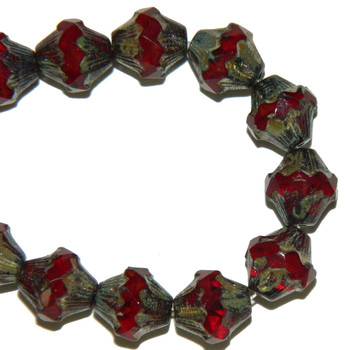 11x10mm Baroque Bicone Beads 15 Beads Transparent And Opaque Garnet Glass With Picasso Finish