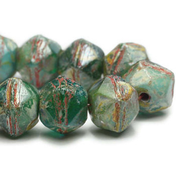 8mm Czech Glass English Cut Beads 20 Beads Green And Blue Turquoise With Picasso Finish