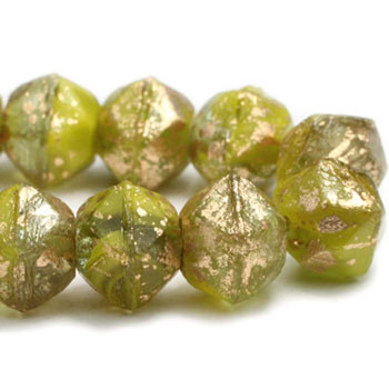 8mm Czech Glass English Cut Beads 20 Beads Blend Of Opaque And Transparent Avocado With Gold Finish