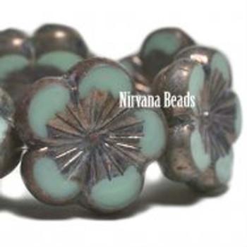 21mm 1 Bead Hibiscus Flower Blue-Green Metallic Purple Finish Czech Glass Hawaiian Flower