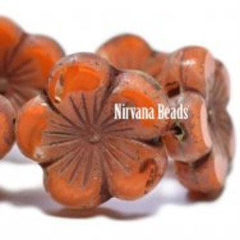 21mm 1 Bead Hibiscus Flower Orange With A Picasso Finish  Czech Glass Hawaiian Flower