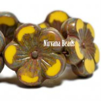 21mm 1 Bead Hibiscus Flower Dandelion With A Picasso Finish  Czech Glass Hawaiian Flower