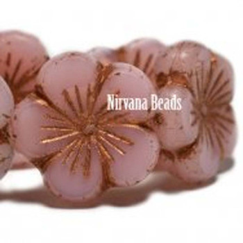 21mm 1 Bead Hibiscus Flower Dusty Rose With Copper Wash  Czech Glass Hawaiian Flower