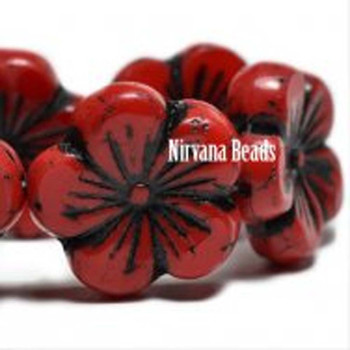 21mm 1 Bead Hibiscus Flower Scarlet Red With A Black Wash  Czech Glass Hawaiian Flower