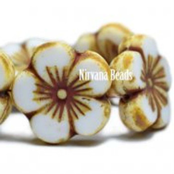 21mm 1 Bead Hibiscus Flower White With Picasso Finish Czech Glass Hawaiian Flower