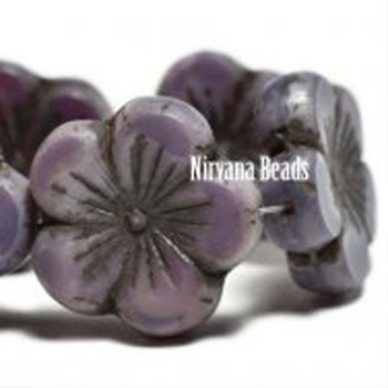 21mm 1 Bead Hibiscus Flower Violet With A Brown Wash Czech Glass Hawaiian Flower