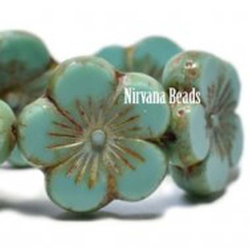 21mm 1 Bead Hibiscus Flower Sea Green With Picasso Finish  Czech Glass Hawaiian Flower