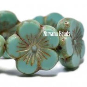 21mm 1 Bead Hibiscus Flower Sea Green With Picasso Finish  Czech Glass Hawaiian Flower