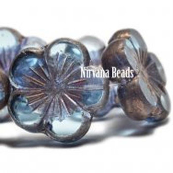 21mm 1 Bead Hibiscus Flower Pale Blue With A Copper Finish Czech Glass Hawaiian Flower