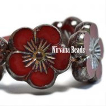 21mm 1 Bead Hibiscus Flower Ruby Red With A Picasso Finish Czech Glass Hawaiian Flower